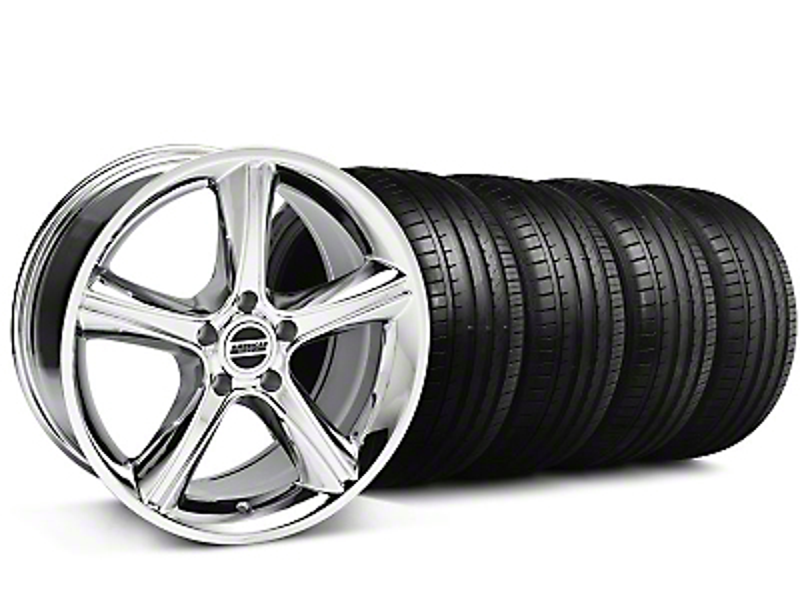 Staggered 2010 GT Premium Style Chrome Wheel & Falken Tire Kit - 19x8.5/10 (05-14)