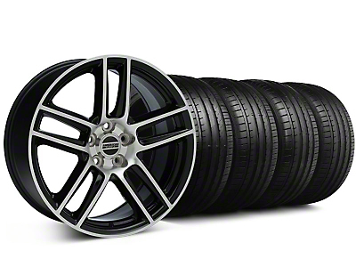Staggered Laguna Seca Style Black Machined Wheel & Falken Tire Kit - 19x9/10 (05-14 All)