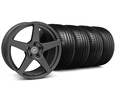 Forgestar Staggered CF5 Monoblock Matte Black Wheel & Falken Tire Kit - 19x9/10 (05-14 All)