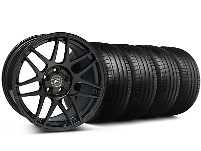 Staggered Forgestar F14 Monoblock Piano Black Wheel & Falken Tire Kit - 19x9/10 (05-14 All)
