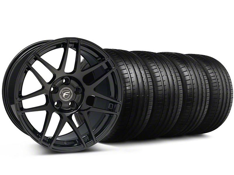 Forgestar Staggered F14 Monoblock Piano Black Wheel & Falken Tire Kit - 19x9/10 (05-14 All)