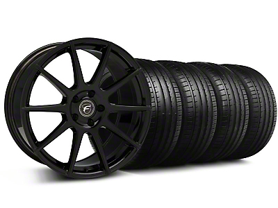 Staggered Forgestar CF10 Monoblock Piano Black Wheel & Falken Tire Kit - 19x9/10 (05-14)