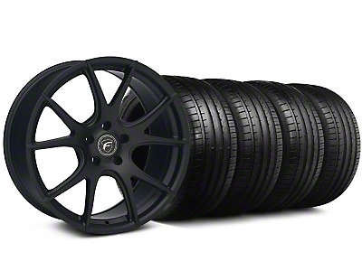 Staggered Forgestar CF5V Monoblock Piano Black Wheel & Falken Tire Kit - 19x9/10 (05-14)