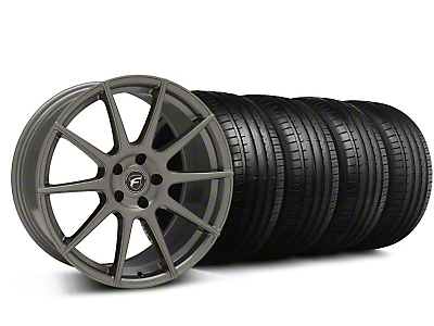 Staggered Forgestar CF10 Monoblock Gunmetal Wheel & Falken Tire Kit - 19x9/10 (05-14 All)