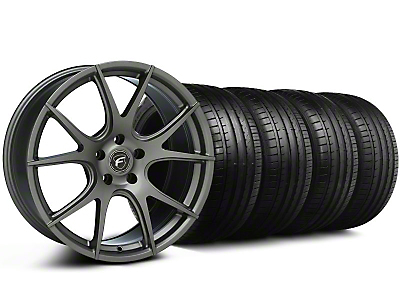 Staggered Forgestar CF5V Monoblock Gunmetal Wheel & Falken Tire Kit - 19x9/10 (05-14)