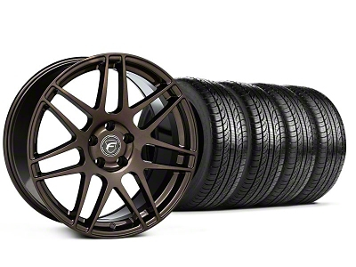 Forgestar Staggered F14 Bronze Burst Wheel & Pirelli Tire Kit - 19x9/10 (05-14 All)