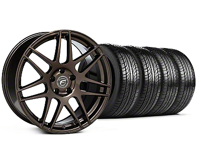 Forgestar Staggered F14 Bronze Burst Wheel & Pirelli Tire Kit - 19x9/10 (05-14 All)