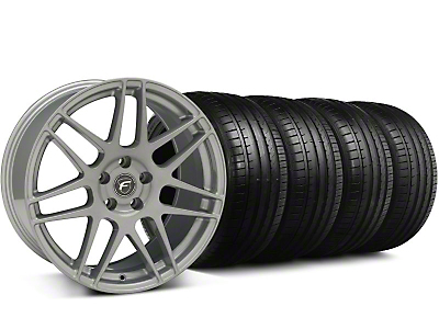 Staggered Forgestar F14 Monoblock Silver Wheel & Falken Tire Kit - 19x9/10 (05-14)