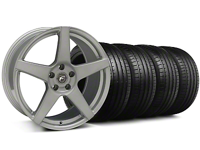 Staggered Forgestar CF5 Monoblock Silver Wheel & Falken Tire Kit - 19x9/10 (05-14)