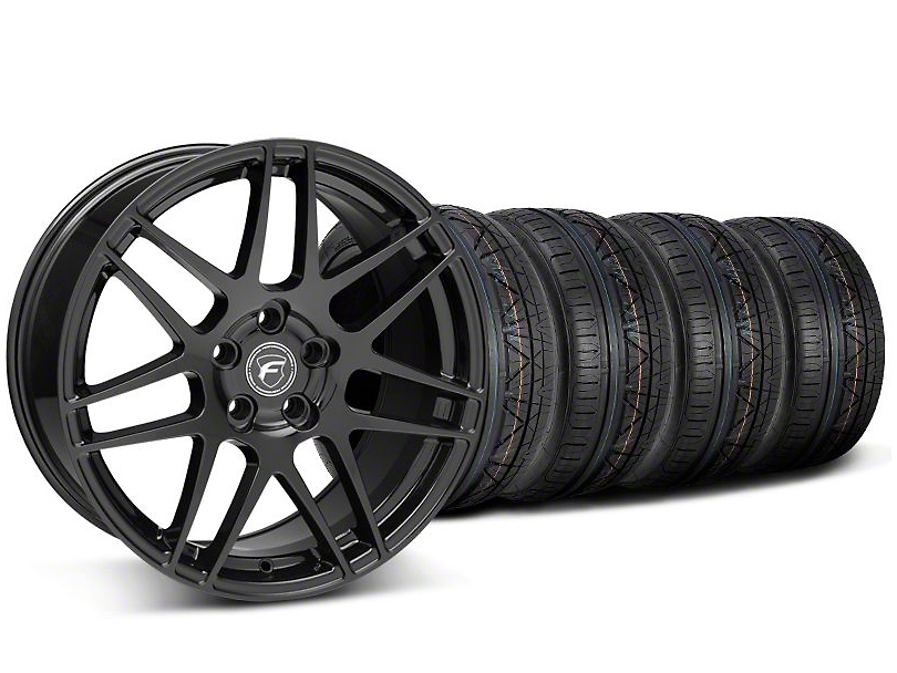 Forgestar Staggered F14 Monoblock Piano Black Wheel & NITTO INVO Tire Kit - 19x9/11 (05-14 All)