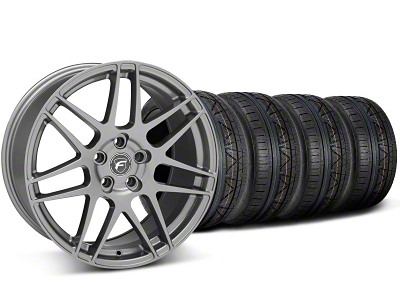 Forgestar Staggered F14 Monoblock Gunmetal Wheel & NITTO INVO Tire Kit - 19x9/11 (05-14 All)