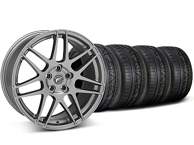 Staggered Forgestar F14 Monoblock Gunmetal Wheel & NITTO INVO Tire Kit - 19x9/11 (05-14 All)