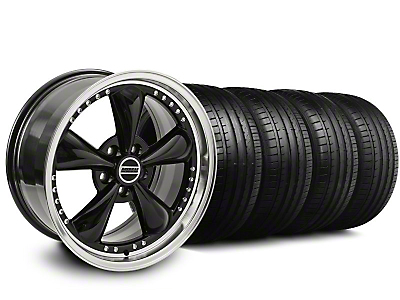 Staggered Bullitt Motorsport Black Wheel & Falken Tire Kit - 20x8.5/10 (05-10 GT, V6)