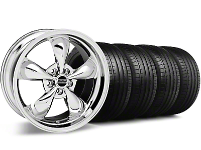 Staggered Deep Dish Bullitt Chrome Wheel & Falken Tire Kit - 20x8.5/10 (05-10 GT, V6)