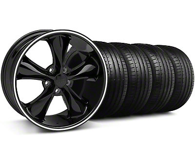 Staggered Foose Legend Black Wheel & Falken Tire Kit - 20x8.5/10 (05-14 All, Excluding GT500)