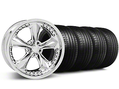 Staggered Foose Nitrous Chrome Wheel & Falken Tire Kit - 20x8.5/10 (05-14 GT, V6)