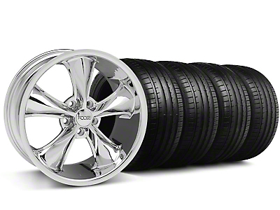 Staggered Foose Legend Chrome Wheel & Falken Tire Kit - 20x8.5/10 (05-14 GT, V6)