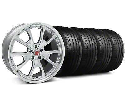 Staggered Shelby CS-40 Silver Machined Wheel & Falken Tire Kit - 20x9/10 (05-14 All)