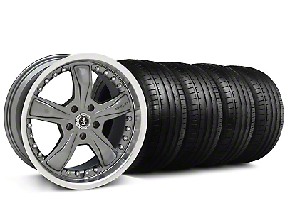 Shelby Staggered Razor Gunmetal Wheel & Falken Tire Kit - 20x9/10 (05-14 GT, V6)