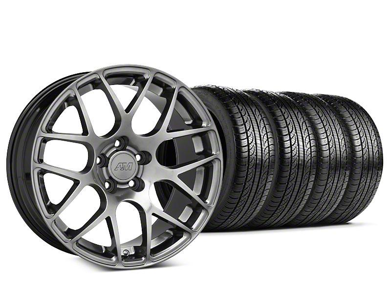 Staggered AMR Dark Stainless Wheel & Pirelli Tire Kit - 19x8.5/10 (05-14 All)