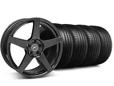 Staggered Forgestar CF5 Monoblock Piano Black Wheel & Falken Tire Kit - 18x9/10 (94-98)