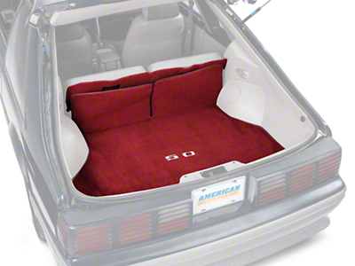 Replacement Hatch Carpet - Red w/ 5.0 Logo (87-93 All)