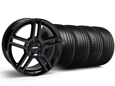 Staggered 2010 GT500 Black Wheel & Falken Tire Kit - 18x9 (99-04)