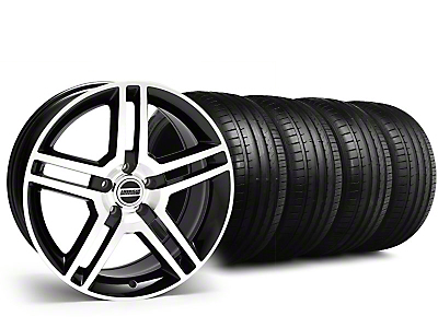 Staggered 2010 GT500 Style Black Machined Wheel & Falken Tire Kit - 18x9 (99-04)