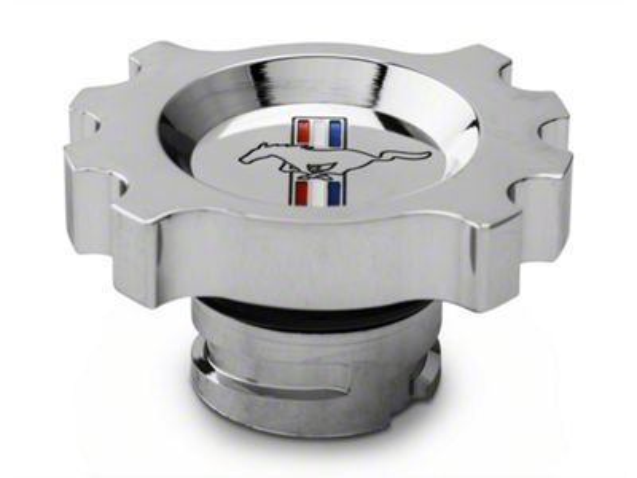 Add Modern Billet Chrome Oil Cap - Tri-Bar Logo (05-17 GT, V6; 15-17 EcoBoost)