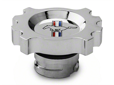 Modern Billet Chrome Oil Cap - Tri-Bar Logo (05-17 GT, V6; 15-17 EcoBoost)