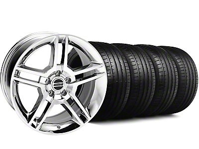 Staggered 2010 GT500 Style Chrome Wheel & Falken Tire Kit - 18x9 (99-04)