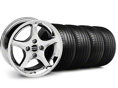 Staggered Deep Dish 1995 Cobra R Chrome Wheel & Falken Tire Kit - 18x9/10 (99-04)