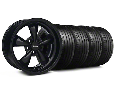 Staggered Bullitt Solid Black Wheel & Falken Tire Kit - 18x9/10 (99-04)