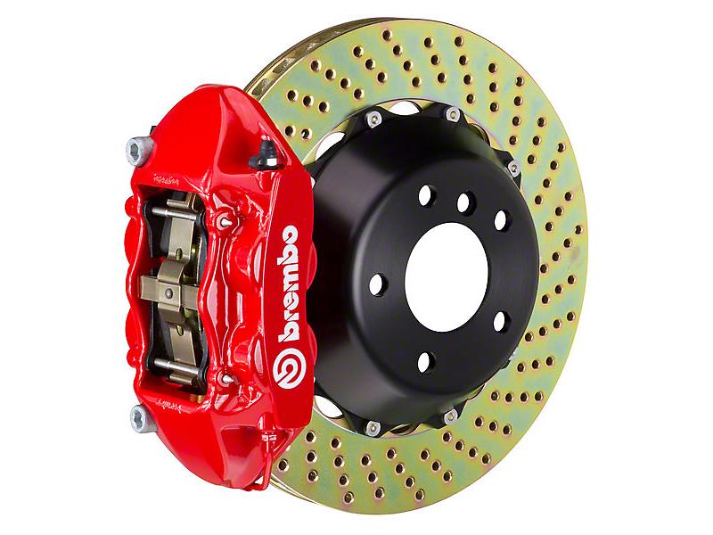 Brembo GT 4-Piston Rear Brake Kit Red - 15in Drilled Rotors (15-16 V6, EcoBoost)