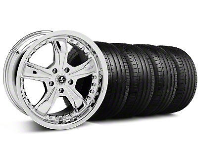 Staggered Shelby Razor Chrome Wheel & Falken Tire Kit - 18x9/10 (99-04)
