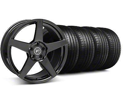 Staggered Forgestar CF5 Monoblock Piano Black Wheel & Falken Tire Kit - 18x9/10 (99-04)
