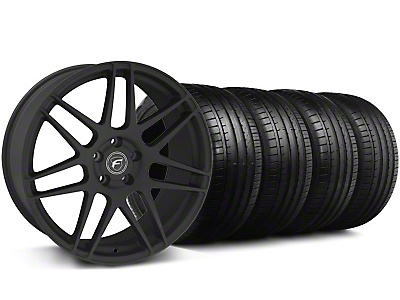 Forgestar Staggered F14 Monoblock Staggered Textured Black F14 Monoblock Wheel & Falken Tire Kit - 18x9/10 (99-04)
