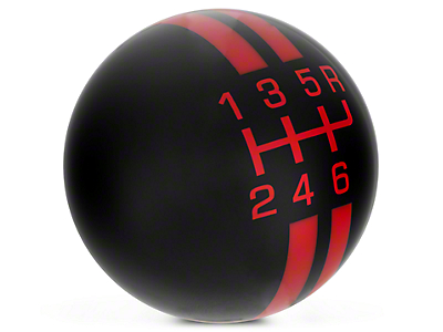 Rally Stripe 6-Speed Shift Knob - Black/Red (10-14 GT500)