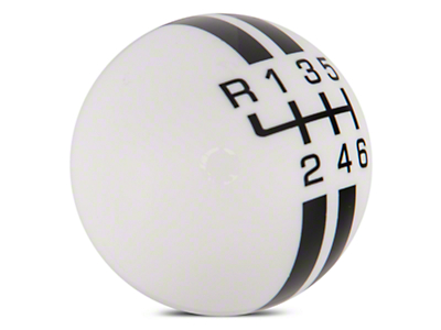 Rally Stripe 6-Speed Shift Knob - White/Black (15-16 GT, EcoBoost, V6)