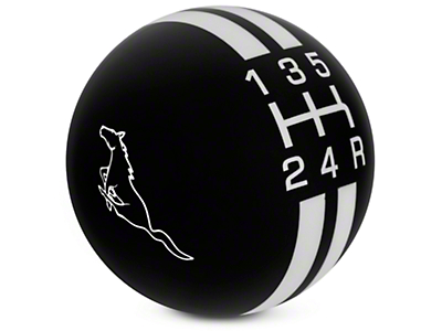 Rally Stripe 5-Speed Shift Knob w/ Running Pony Logo - Black/White (05-10 GT, V6)