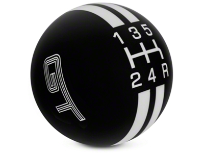 Rally Stripe 5-Speed Shift Knob w/ GT Logo - Black/White (05-10 GT, V6)