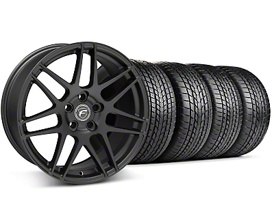 Staggered Forgestar F14 Matte Black Wheel & Sumitomo Tire Kit - 17x9/10.5 (99-04)