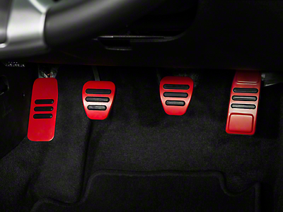 GT500 Style Pedal Covers - Manual - Red (05-14 GT, V6)