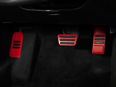 GT500 Style Pedal Covers - Automatic - Red (05-14 GT, V6)