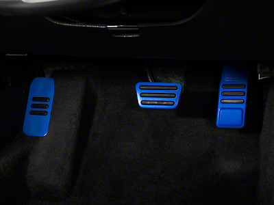 GT500 Style Pedal Covers - Automatic - Blue (05-14 GT, V6)