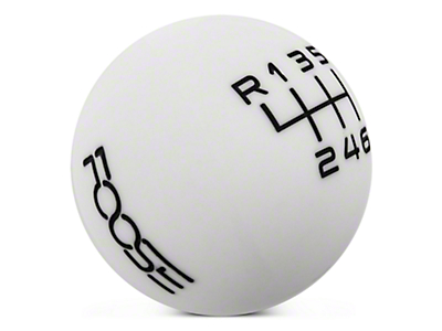 MMD by FOOSE Retro Style 6-Speed Shift Knob w/ FOOSE logo - White (15-16 GT, EcoBoost, V6)