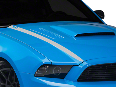 Silver Hood Accent Decal - 5.0 Lettering (13-14 GT, BOSS)