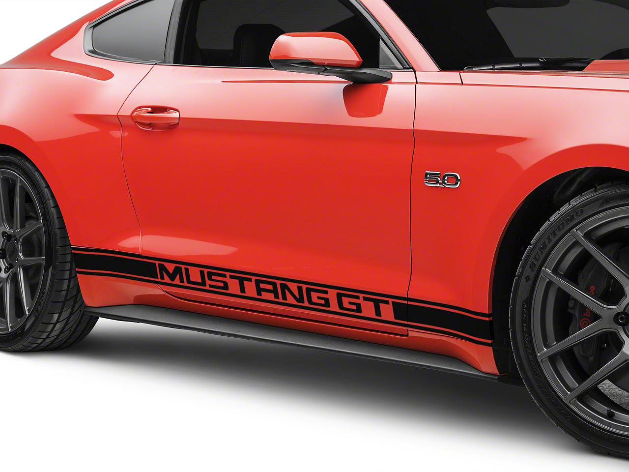 Black Rocker Stripes w/ Mustang GT Lettering (15-17 All)