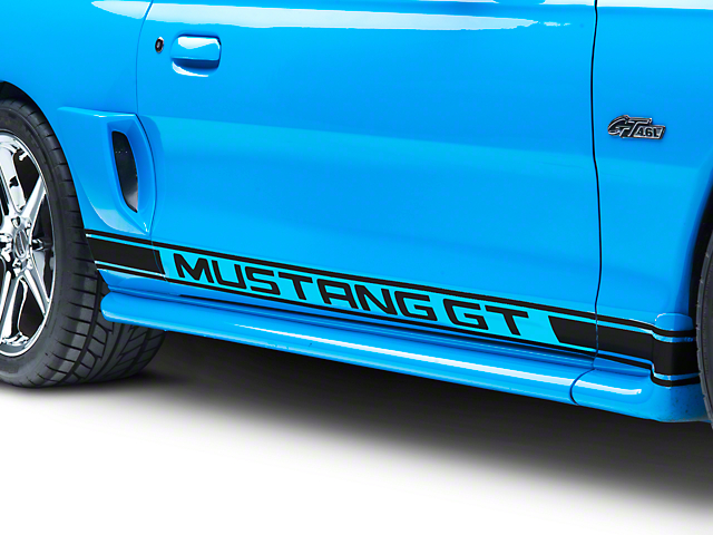 Black Rocker Stripes w/ Mustang GT Lettering (94-04 All)
