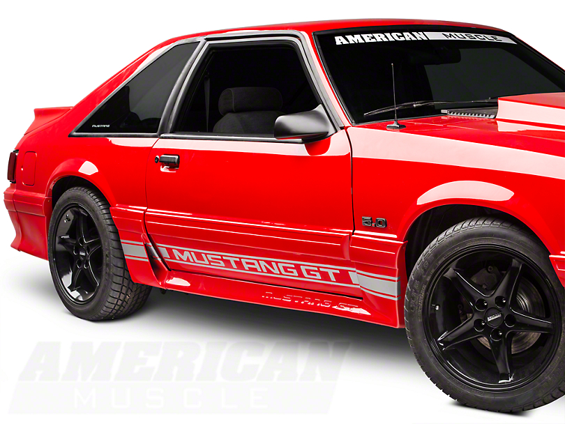 Silver Rocker Stripes w/ Mustang GT Lettering (79-93 All)